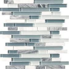 Grey Blue Backsplash Blue Shell Tile Glass Mosaic Kitchen - Blue backsplash
