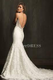 spaghetti straps v neck white mermaid wedding dress with lace