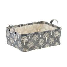 grey tree print fabric storage bins with handles the container store