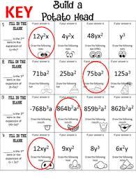 me a mr potato head binomial expansion using pascal u0027s triangle