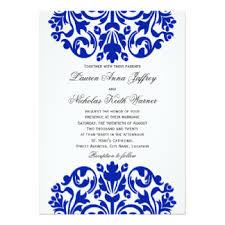 royal blue wedding invitations royal blue damask wedding invitations announcements zazzle