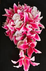 Cascading Bouquet Touch Pink Stargazer Lilies Cascading Bouquet