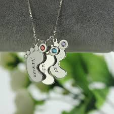 Birthstone Name Necklace Moms Jewelry Silver Baby Feet Charm Necklace With Birthstone Kids