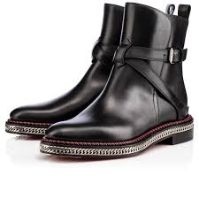 christian louboutin women chelsea chain boot flat black leather