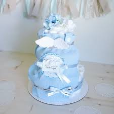 angel wings diaper cake for baby boy baby shower centerpiece