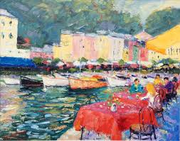 Portofino Italy Map Harbour Side Cafe U2013 Portofino Italy John Lawrence Paintings