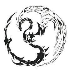 tribal yin yang yin yang dragons