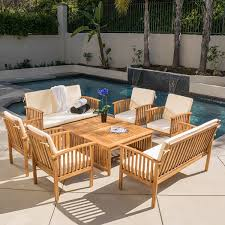 Wood Patio Furniture Sets Beckley 8 Pc Outdoor Wood Sofa Seating Set Kitchen