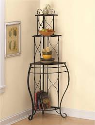 Decorating A Bakers Rack Ideas Furniture Exciting And Nice Corner Bakers Rack For Your Furniture