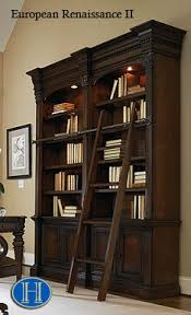 Library Bookcases With Ladder European Renaissance Ii Double Bookcase With Ladder U0026 Rail