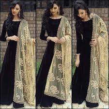 party wear gowns buy black velvet embroidered party wear gowns online