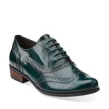hamble oak in dark green lea womens shoes from clarks green