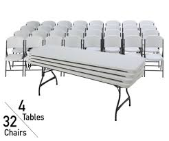 lifetime 8 ft rectangular stacking tables and chairs set white