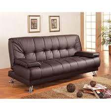 leatherette convertible sofa bed with removable armrests