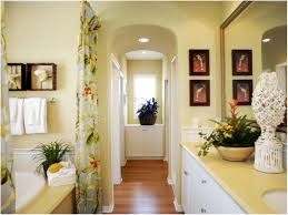 bathroom yellow bathtub panel tropical decor in the large