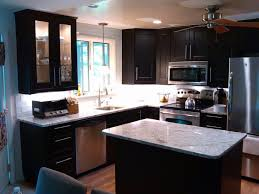 Island Kitchen Counter Kitchen White Marble Countertop Black Wooden Chairs Cream Tile