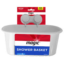 magic suction shower and bath basket in white 3001 the home depot