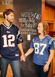 brumbaugh s pregnancy reveal in home photo shoot football themed