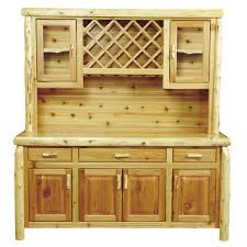 cedar log buffet u0026 hutch with wine rack 75 inch