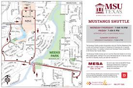 Dfw Terminal Map The Mustangs Shuttle Route Student Life Midwestern State