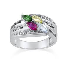 birthstone rings for mothers engraved mothers ring with swarovski birthstones