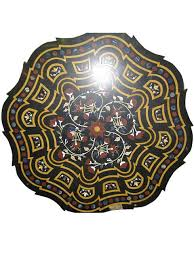 Marble Table Top Floral Carved Black Marble Table Top