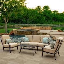 Sunbrella Patio Furniture Sets - carondelet 4 piece cast aluminum patio conversation set w sofa