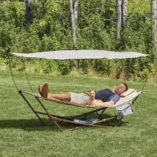 hammock cream vonhaus domu with hammock with stand and canopy