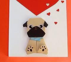 pug birthday card valentine card origami be mine handmade