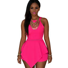 pink jumpsuit womens one size cut out ruffles rompers womens jumpsuit summer