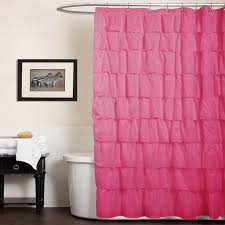 Ruffled Pink Curtains Decor Ruffle Pink Shower Curtain