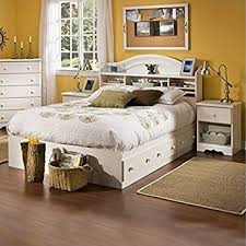 White Washed Bedroom Furniture by Amazon Com South Shore Summer Breeze Kids Full Wood Bookcase Bed