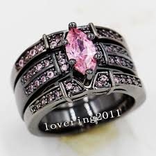 black and pink wedding ring sets choucong marquise cut pink 5a zircon 14kt black gold