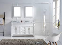 White Double Sink Bathroom Vanities by Virtu 60 Inch Victoria Bathroom Vanity White