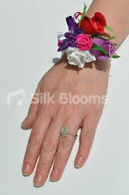 shop fresh touch pink and purple wrist corsage with