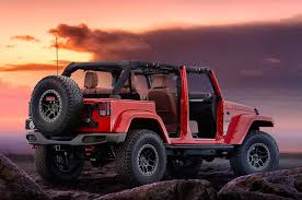big red jeep jeep pulls back cover on wrangler red rock concept motor trend
