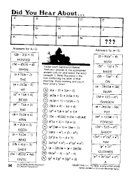 Did You Hear About Math Worksheet Pizzaz Handout