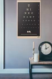 champagne quote eye chart printed on wood classic black
