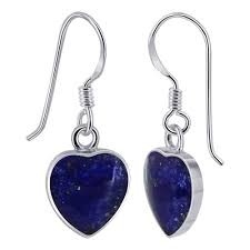 hook earrings heart blue lapis lazuli hook drop earrings emes033