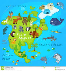 North Anerica Map Map Of The North America With Animals Stock Vector Image 65260988