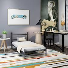 Twin Bed Frame With Mattress Vecelo Platform Twin Metal Bed Frame Mattress Foundation Headboard
