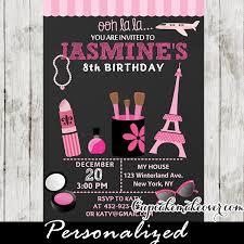 parisian little diva birthday party invitation personalized