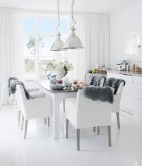 simple white cover dining chairs scandinavian dining room armed