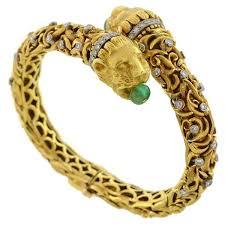 emerald diamond gold bracelet images Zolotas vintage 18kt emerald diamond lion bracelet a brandt son jpg