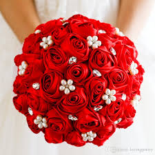 satin roses vini 2018 wedding bouquets with pearls beading