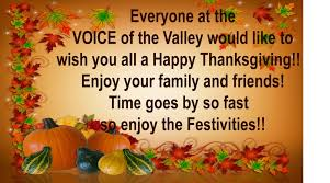happy thanksgiving to everyone voice of the valley