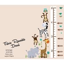 jungle wall decals for nursery with child growth chart wall for kids