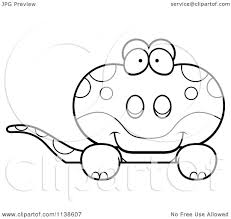 gecko coloring page cartoon clipart of an outlined cute amorous