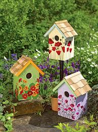 floral print birdhouses set of 3 gardeners com birdhouse