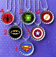 bottle cap necklaces ideas super hero party bottle cap necklace party favor pack by thatrocks